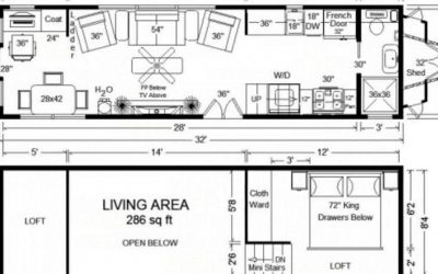 Tiny House Floor Plans: 32′ Long Tiny Home on Wheels Design